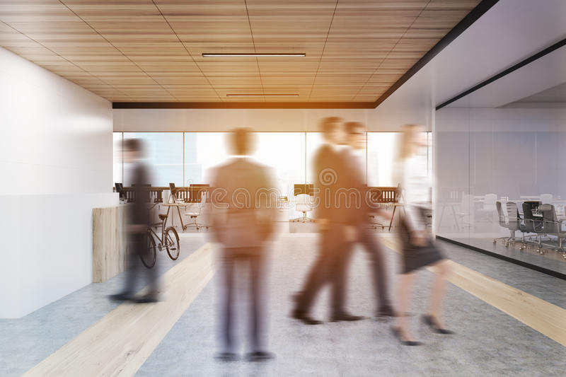 Download Rear View Of People In Office Hall Stock Image - Image: 83722217
