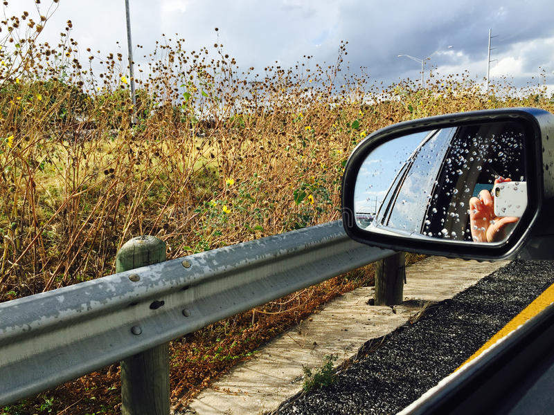 Rear View. Person taking a mobile shot is reflected in the rear view mirror of a car on the highway next to a field of wildflowers stock images