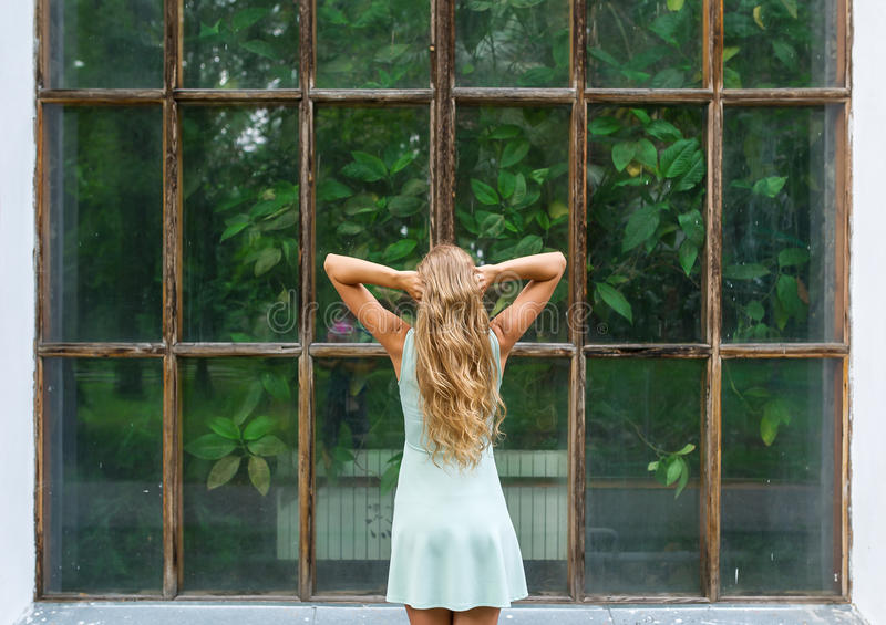 Rear view portrait of young romantic woman in a botanical garden royalty free stock images