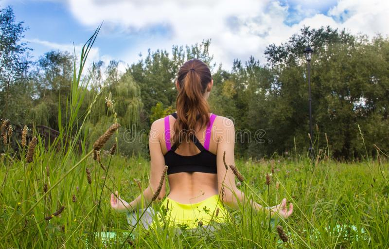 Rear view portrait of a young woman in yoga pose. Meditation on the nature , rear view stock images