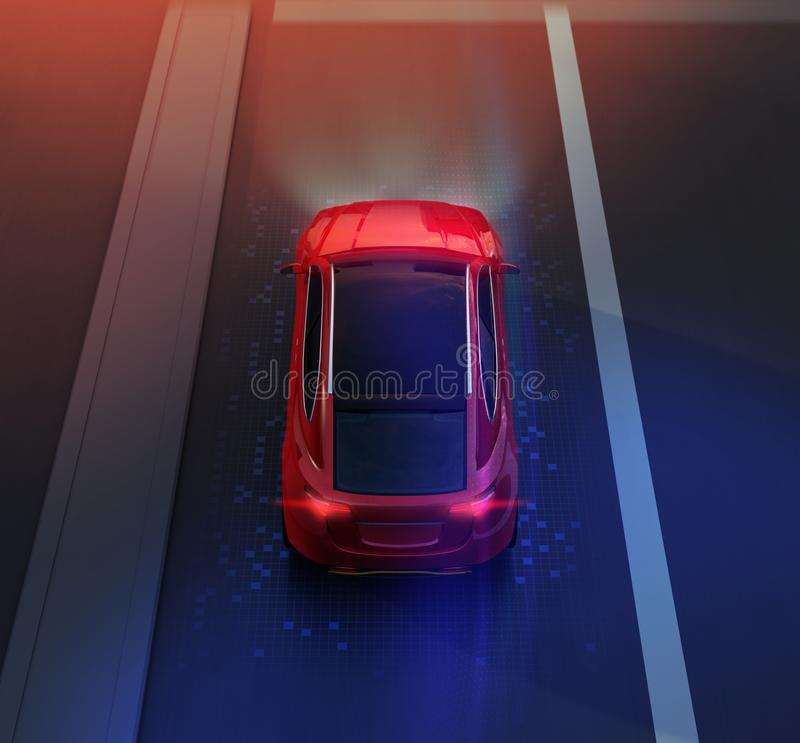 Rear view of red SUV driving on the road with graphic mesh pattern retouched vector illustration
