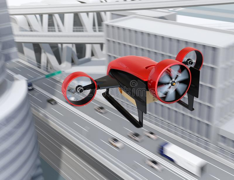 Rear view of red VTOL drone carrying delivery packages flying in the sky vector illustration
