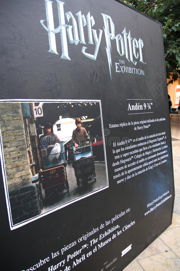 Rear view of the replica of the 9 3/4 platform of Harry Potter stock images