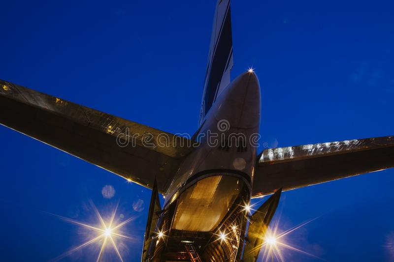 Rear view of russian Antonov carrier airplane stock photography