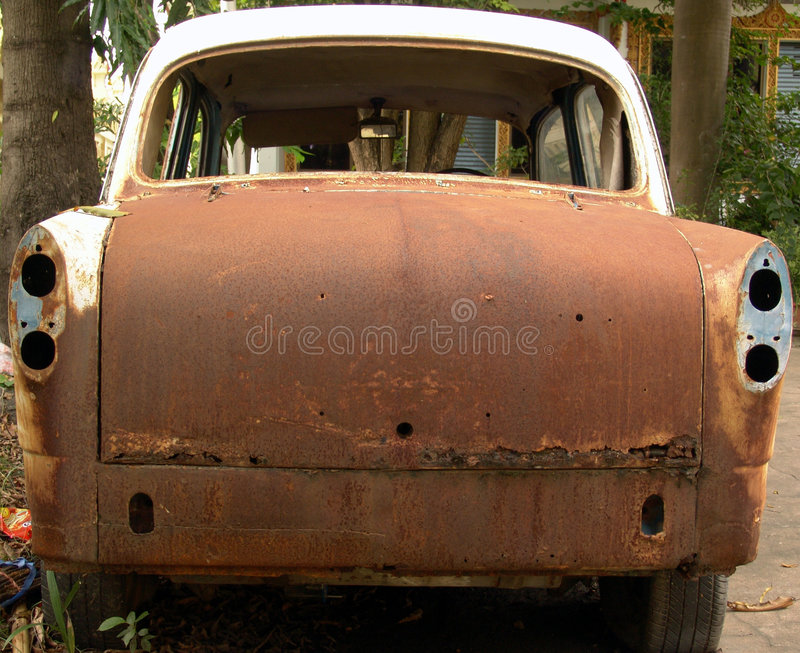 Download Rear View Of An Abandoned Rusty Car Stock Image - Image: 6604689