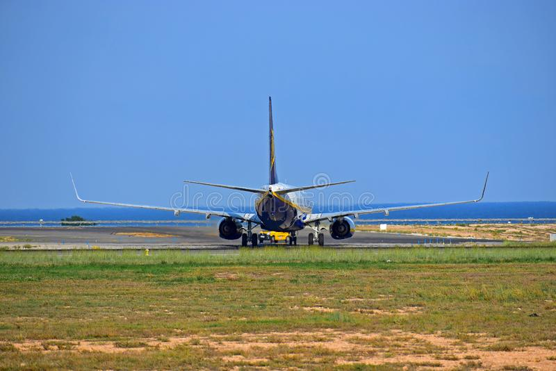 Rear View OF Ryanair Plane stock image