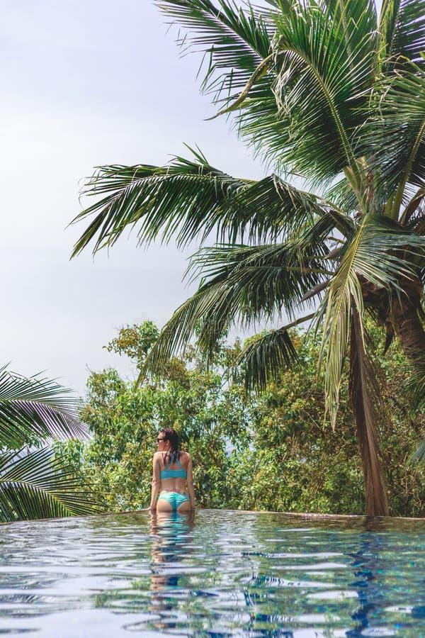 Rear view of seductive girl in bikini in swimming pool. At tropical resort royalty free stock photos