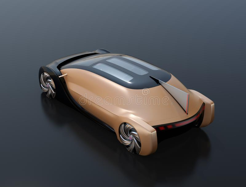 Rear view of self driving electric car on black background royalty free illustration