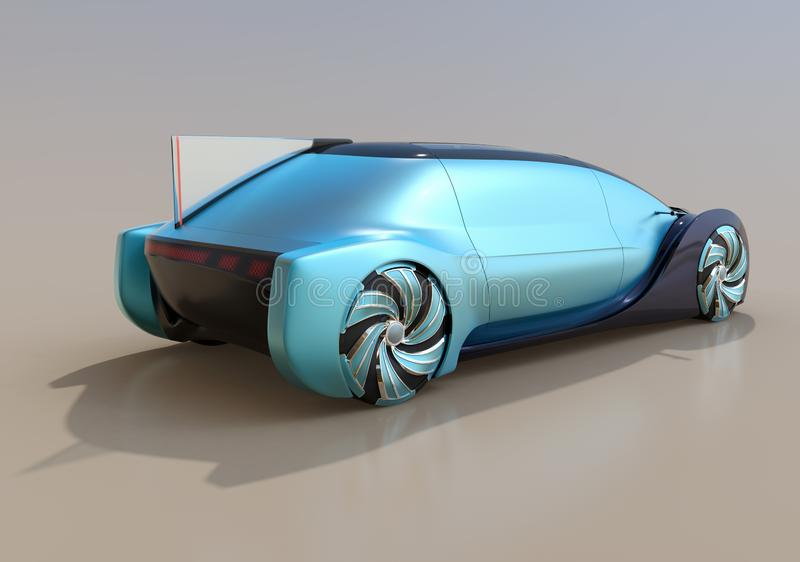 Rear view of self driving electric car on gradient background. 3D rendering image vector illustration
