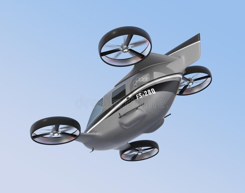 Rear view of self driving Passenger Drone flying in the sky stock illustration