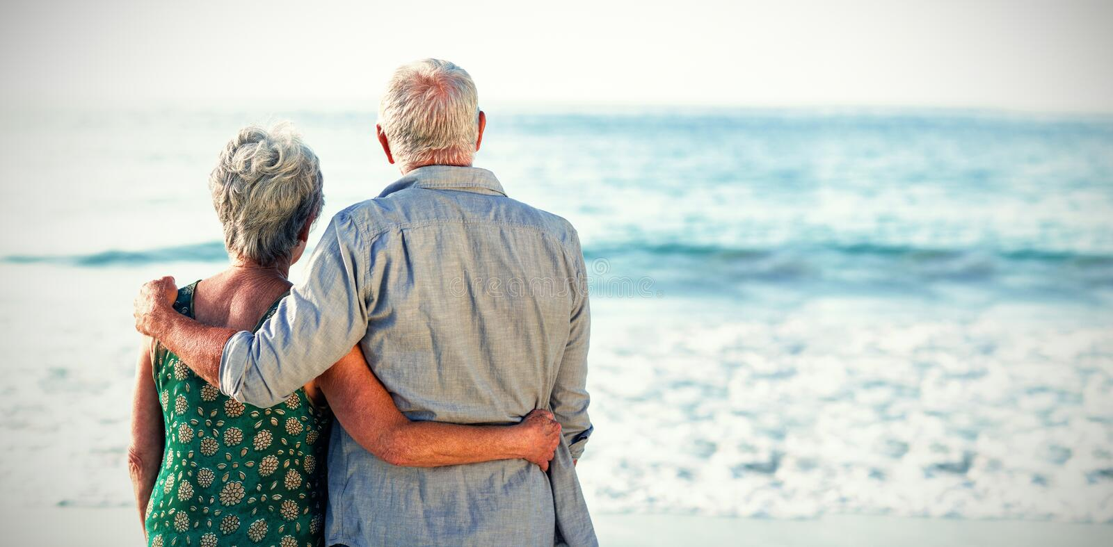 Rear view of senior couple royalty free stock photography