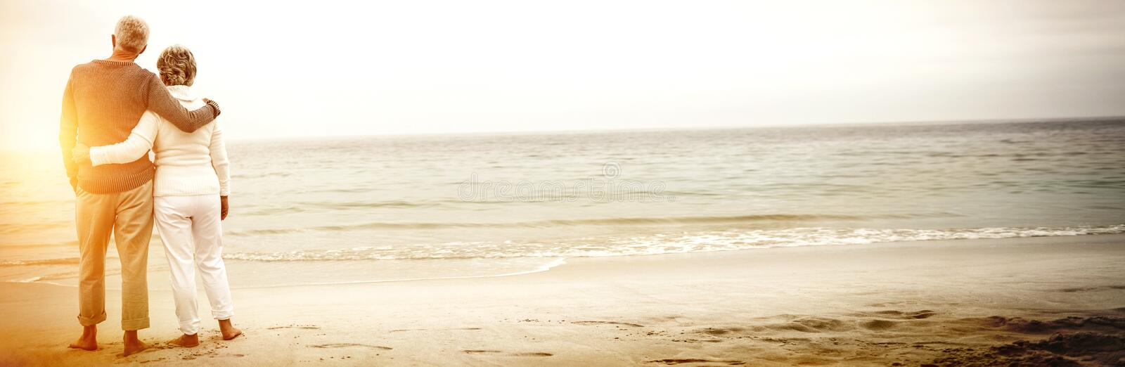 Rear view of senior couple embracing at beach royalty free stock photo