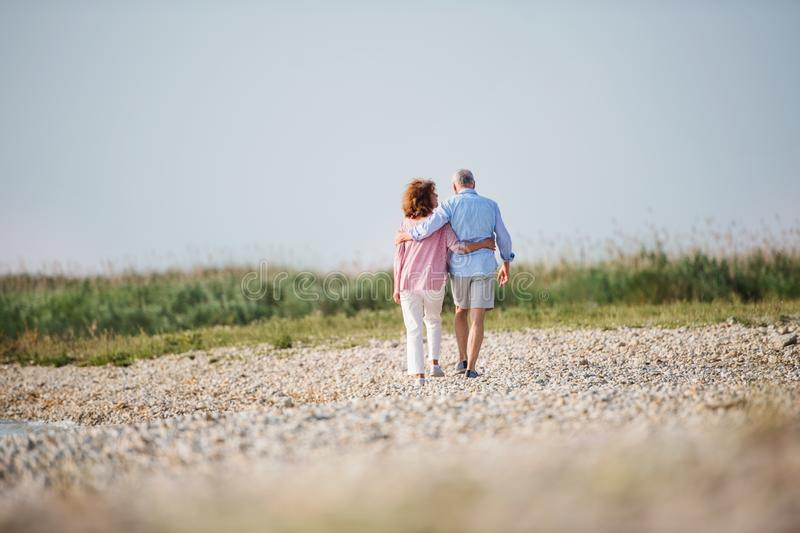 Rear view of senior couple on a holiday on a walk by the lake, walking. royalty free stock photography