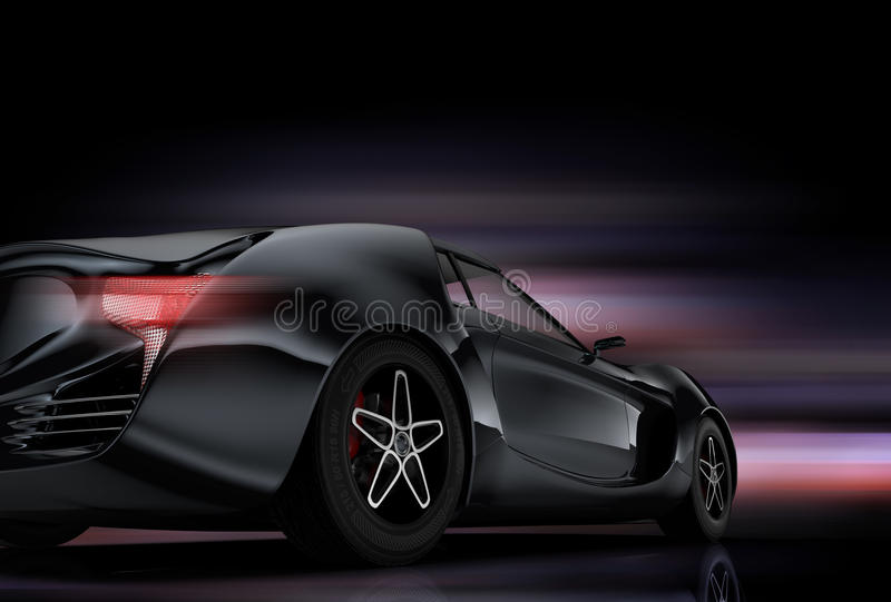 Rear view of sports car isolated on black background stock illustration