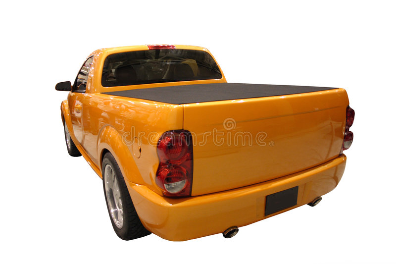 Rear View Of A Sporty Dodge Ram Pickup Truck Isolated Over White stock photography