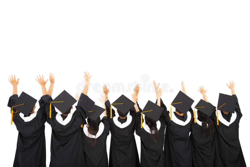 Rear view Students Celebrating Graduation stock photo