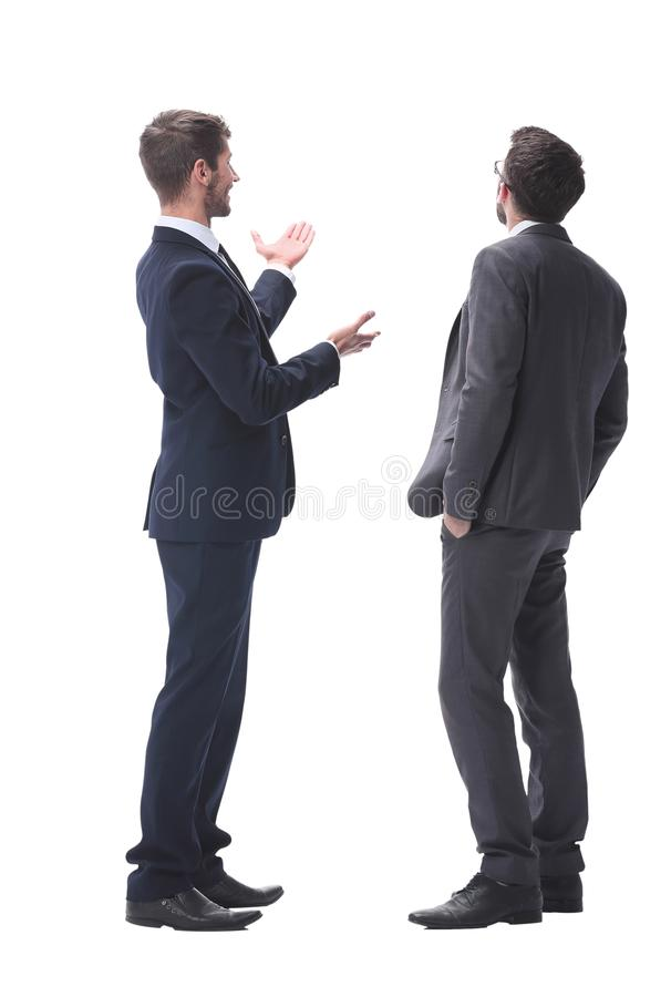 Rear view. two businessmen looking at copy space royalty free stock photos