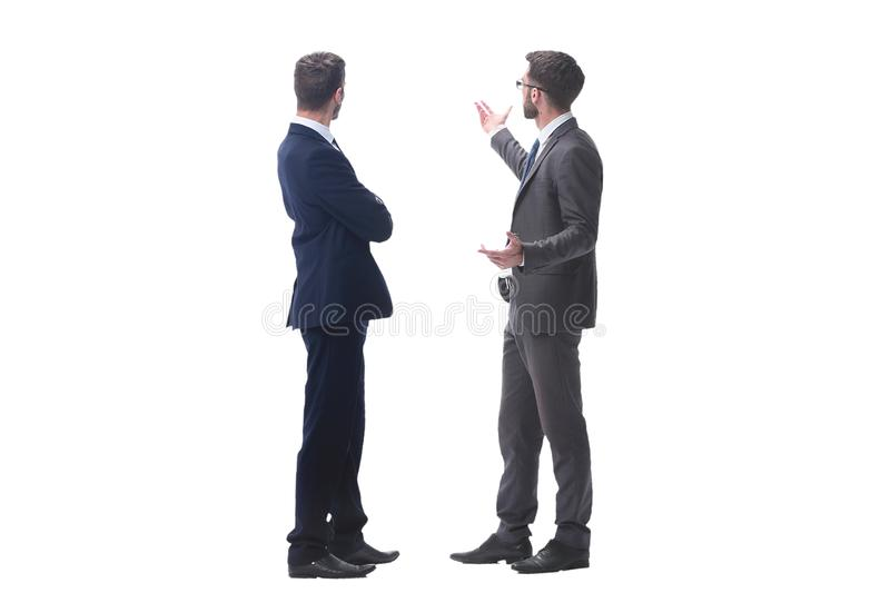 Rear view. two businessmen looking at copy space stock photo