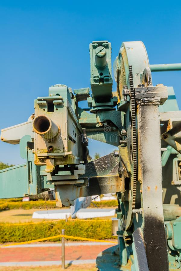 Rear view of two machine guns. Rear view of two of four machine guns on military quadmount turret on display in public park royalty free stock photos