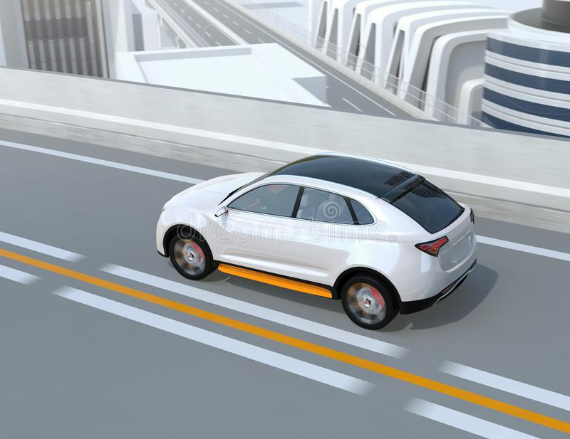 Rear view of white electric SUV driving on the highway vector illustration