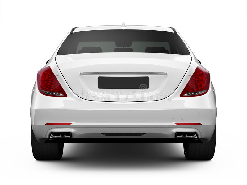 Rear view of white luxury car royalty free illustration
