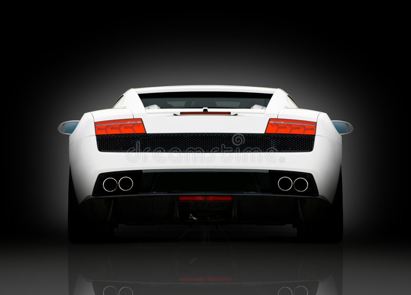 Rear view of white supercar royalty free stock image
