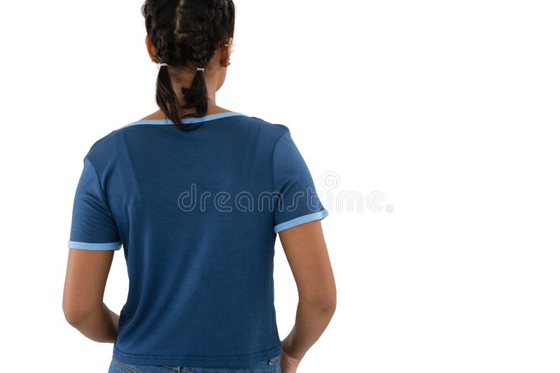 Rear view of woman in braided hair. Against white background stock photography