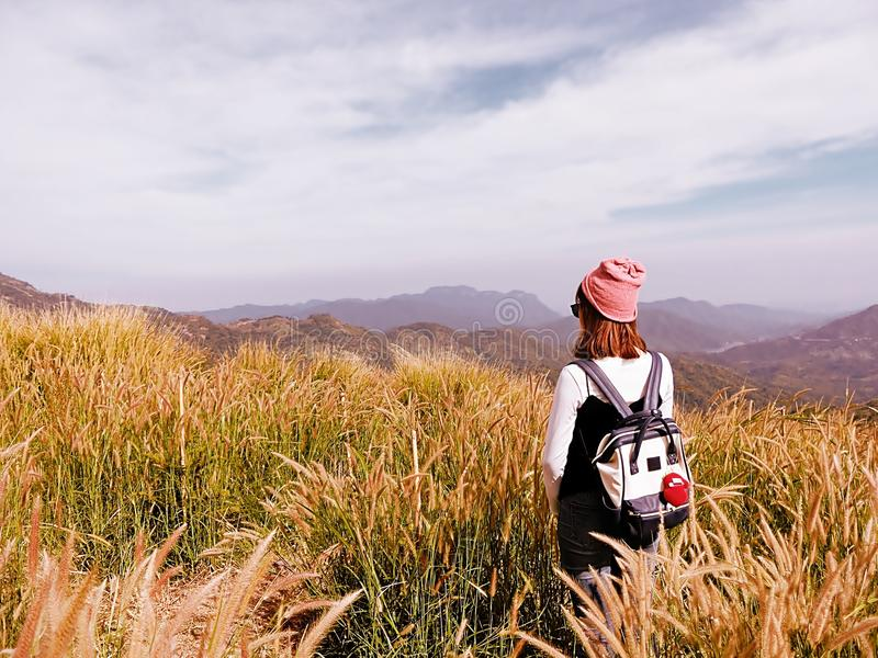 Rear View of Woman Hiking in Mountain Range stock images