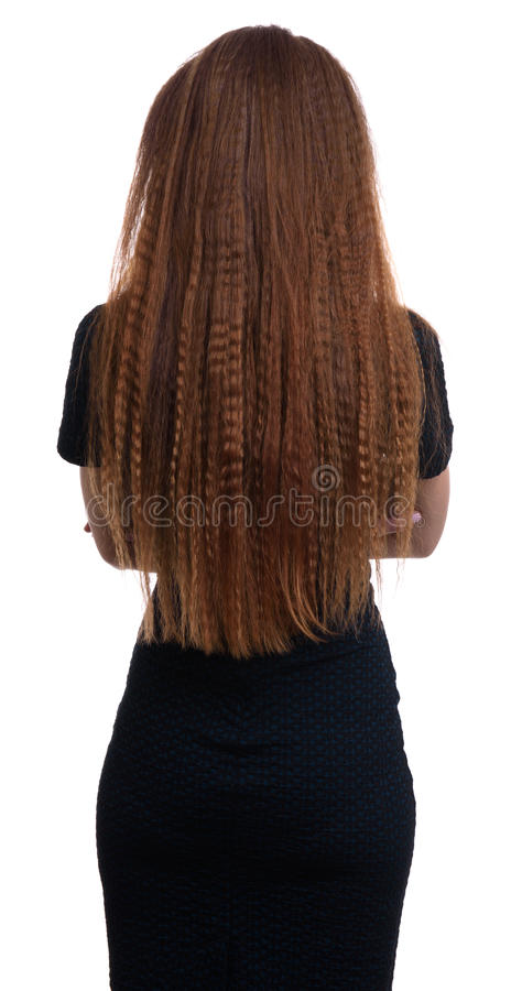 Rear view of a woman with long hair stock photography