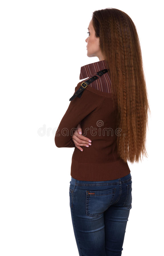 Rear view of a woman looking away. Isolated royalty free stock photo