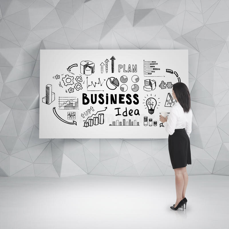 Rear view of a woman looking at business idea. Rear view of a woman with black hair standing near a business diea sketch drawn on a poster in a room with royalty free stock images