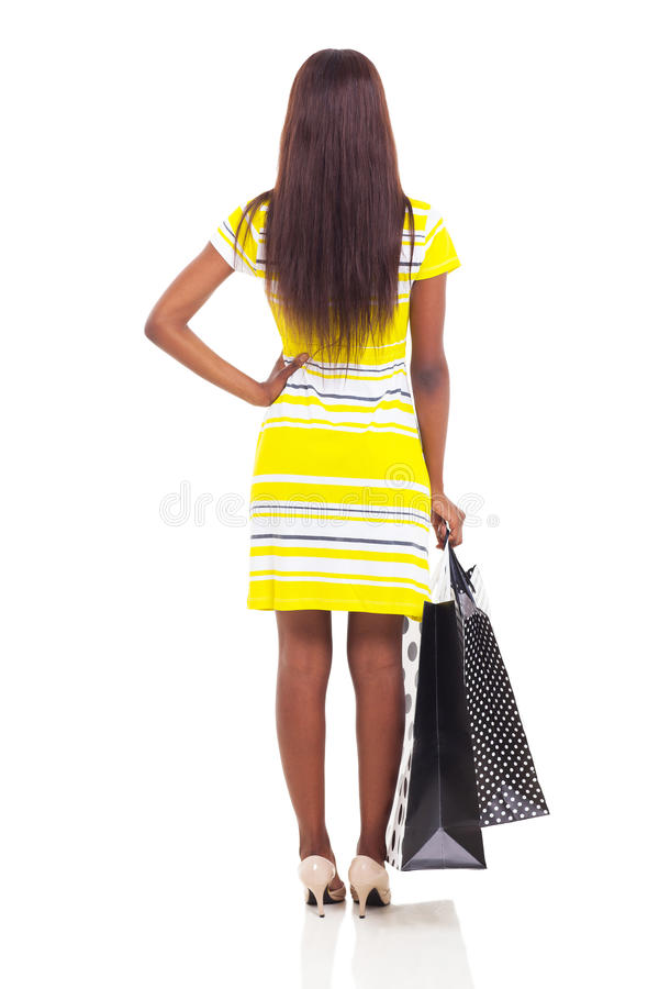 Rear view woman shopping royalty free stock images