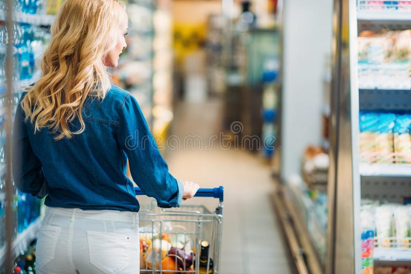 Rear view of woman with shopping cart walking. In supermarket royalty free stock images