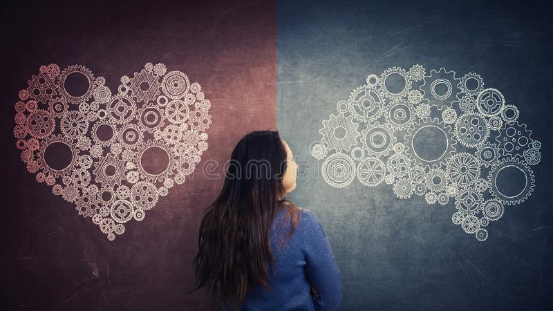 Choose between heart and mind stock photography