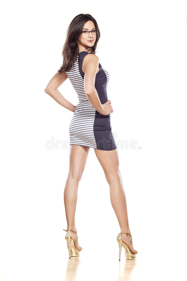 Rear view of a woman stock photo