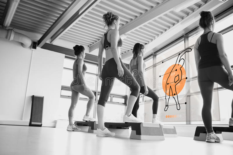 Rear view of women doing exercise with futuristic interface. In black and white royalty free illustration