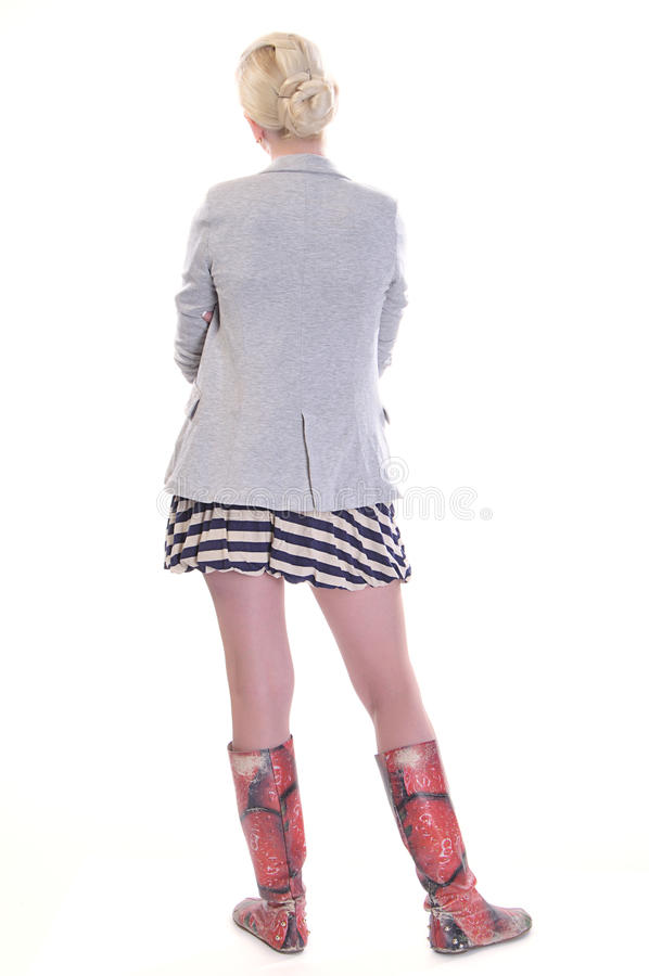 Rear view of young adult woman royalty free stock images