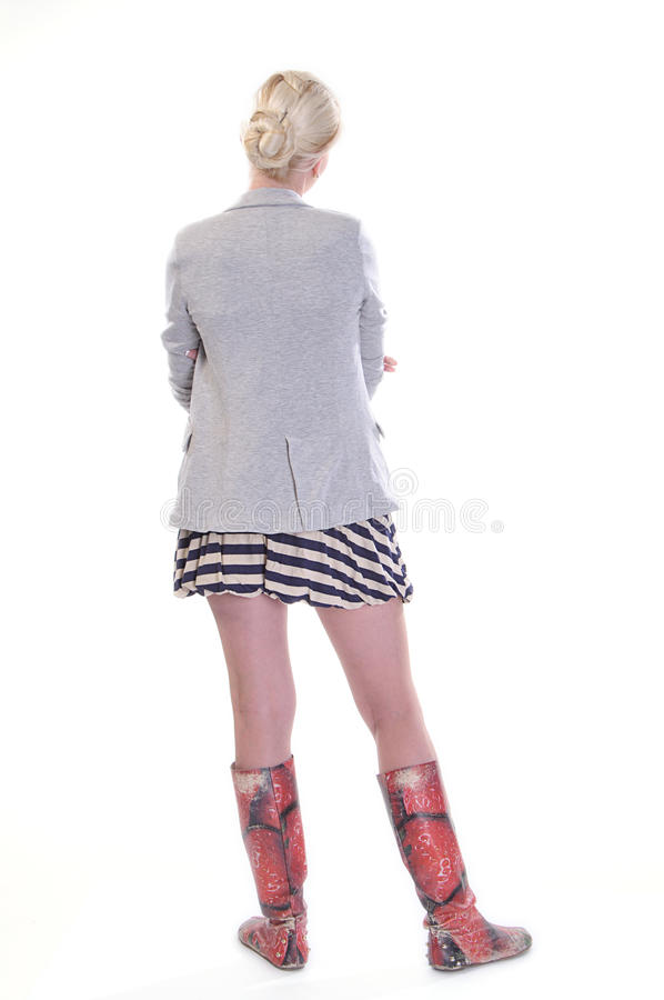 Rear view of young adult woman stock photography