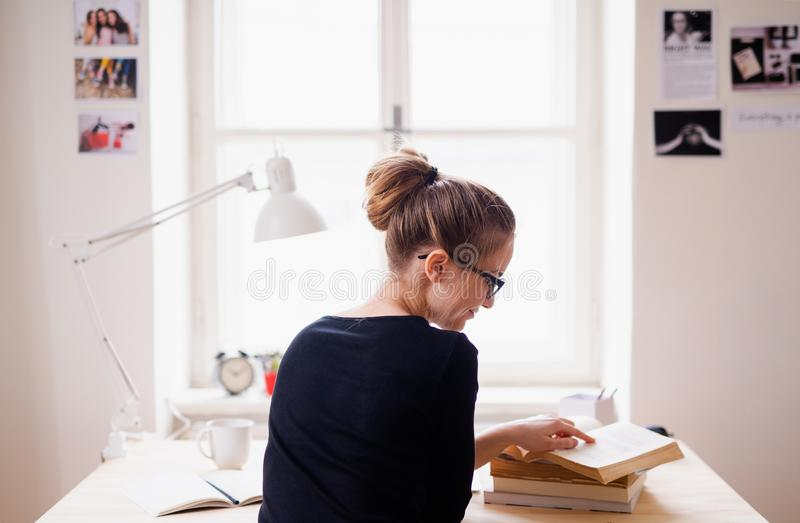 Rear view of young female student sitting at the table, studying. A rear view of young female student sitting at the table, studying stock photos