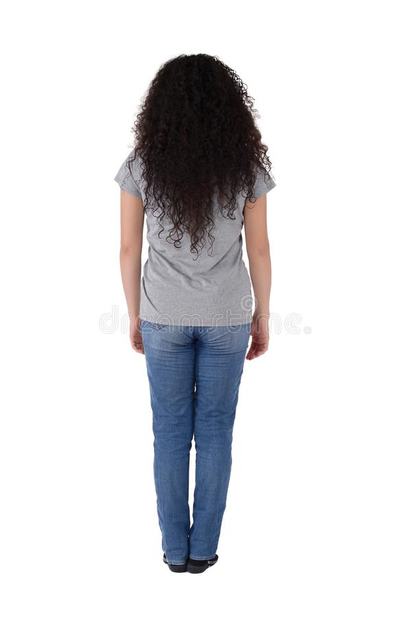 Rear view of young latin woman stock images