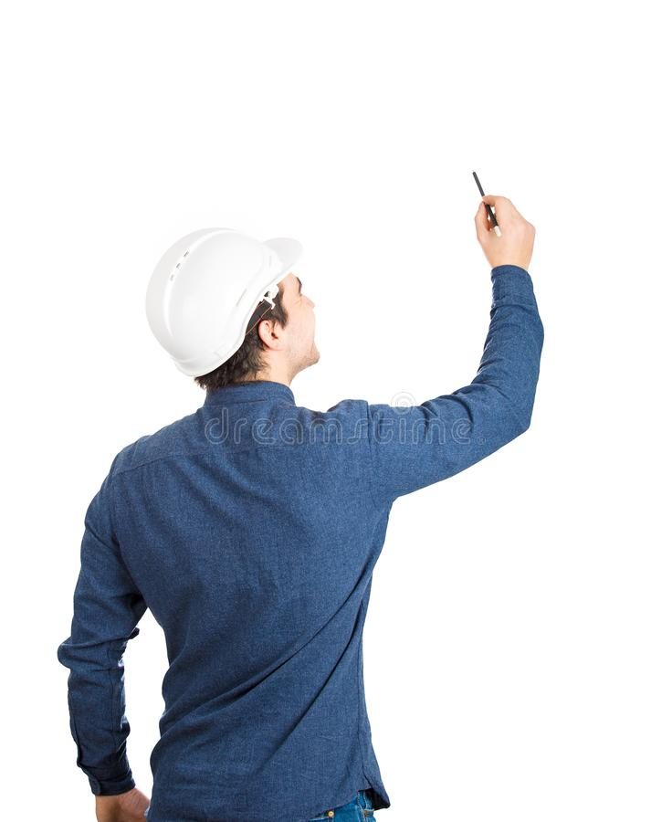 Engineer drawing stock image