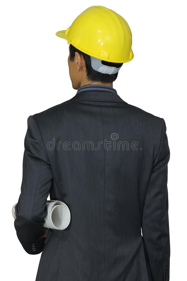 Rear view of young man engineer on white background stock photography