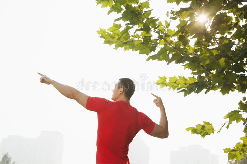 Download Rear View Of Young Muscular Man Stretching By A Tree, Arms Raised And Fingers Pointing Towards The Sky In Beijing, China With Lens Stock Image - Image: 31106629