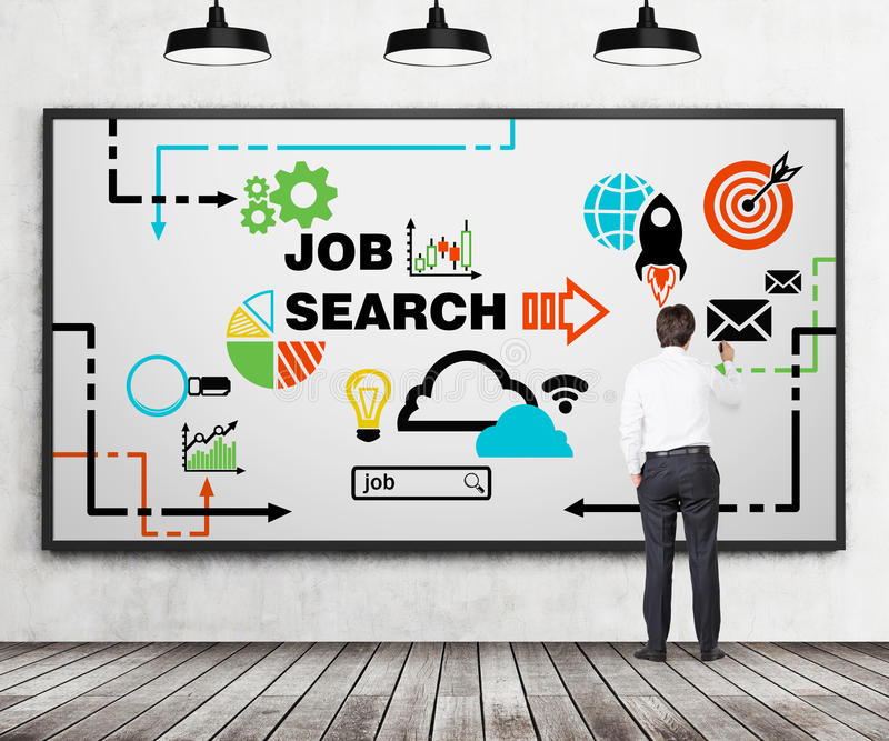 Rear view of young professional who is drawing a recruitment flowchart on the whiteboard. A concept of recruitment and job searchi. Ng processes. Wooden floor royalty free stock photography