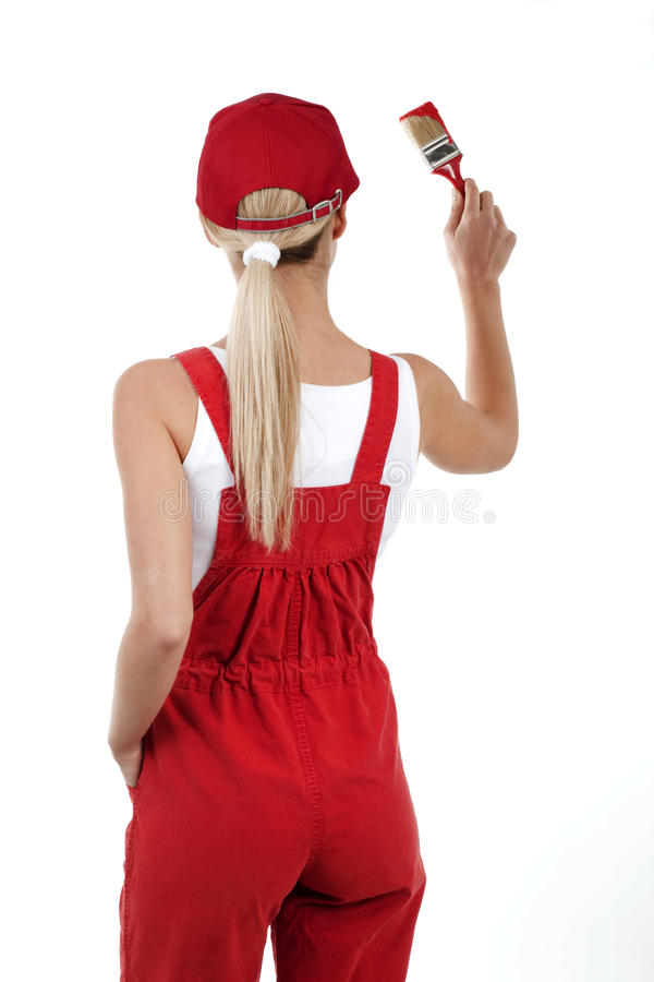 Download Rear View Of A Young Woman Painting Royalty Free Stock Photo - Image: 13250715