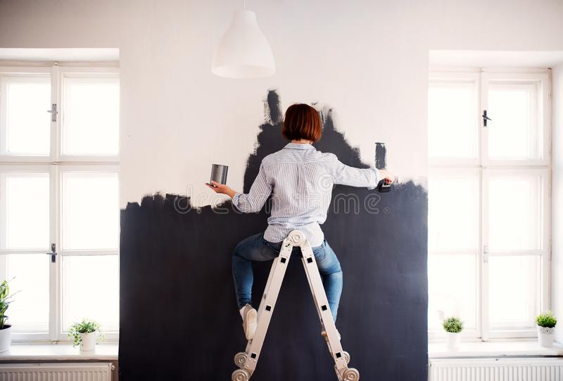 A rear view of young woman painting wall black. A startup of small business. stock image
