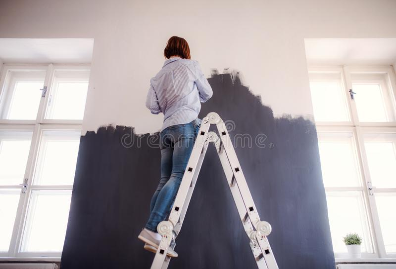 A rear view of young woman painting wall black. A startup of small business. stock images