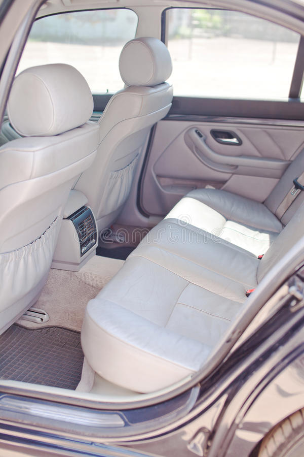 Download The Rear White Leather Seats Of Car Stock Photo - Image of comfortable, auto: 56035470