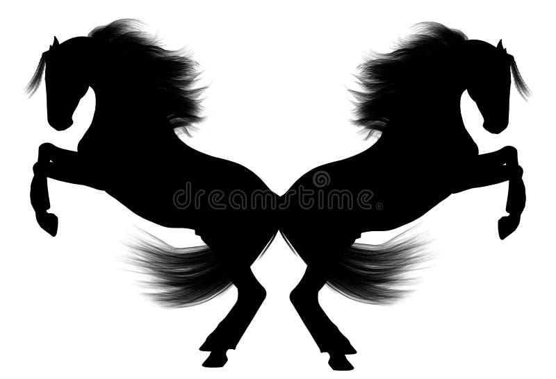 Rearing Horses back to back stock illustration