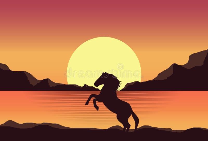 Sunset Horse Silhouette Clip Art